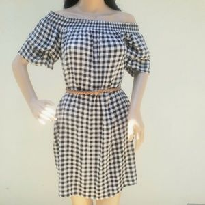 Women's Checkered Sun Dress With Pockets S